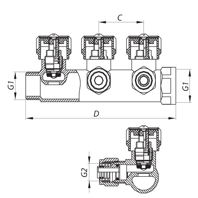 """Коллектор вентильный с фитингом KOER KR.1121-4 3/4""""x4 WAYS (KR2652)"""