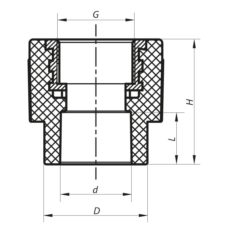 Муфта ВР 25x3/4F PPR KOER K0088.PRO (KP0106)