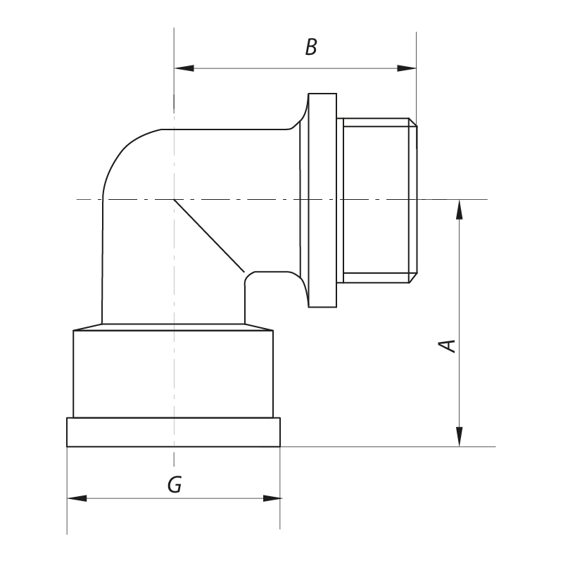 Угол 1/2'' НВ (хром) KOER KF.L06MF.CHR (KF0127)