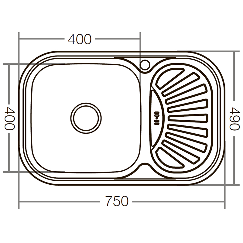 Мойка кухонная ZERIX Z7549-08-180D (decor) (ZX1607)