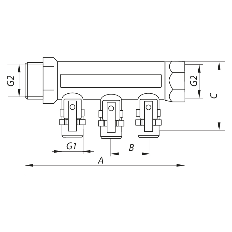 """Колектор з кульовими кранами і фитингом KOER KR.1126-3 1""""x3 WAYS (KR2839)"""