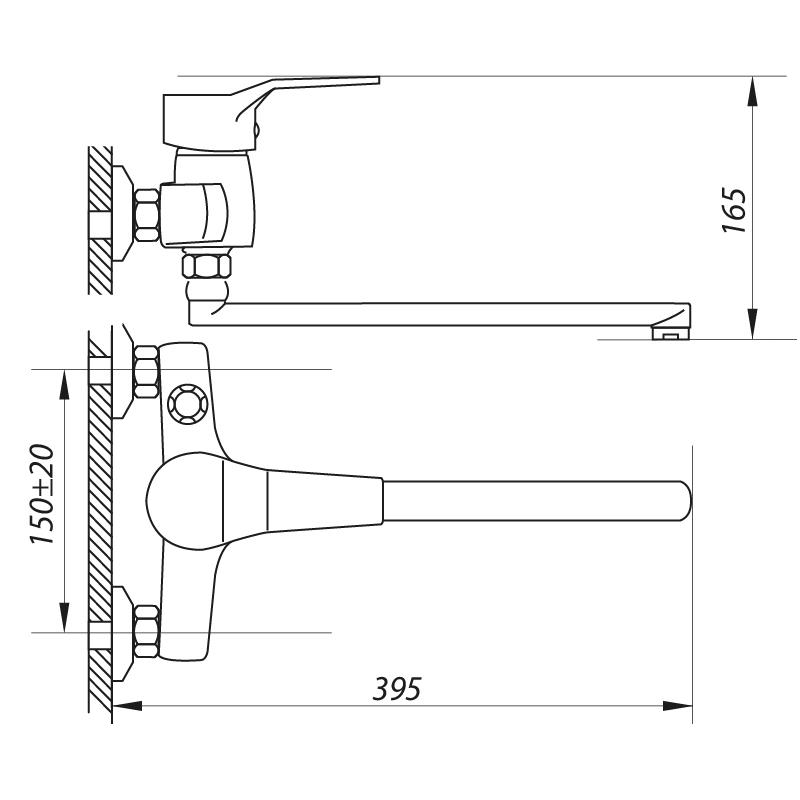 Змішувач для ванни ZERIX NEO 135 (ZX0422)