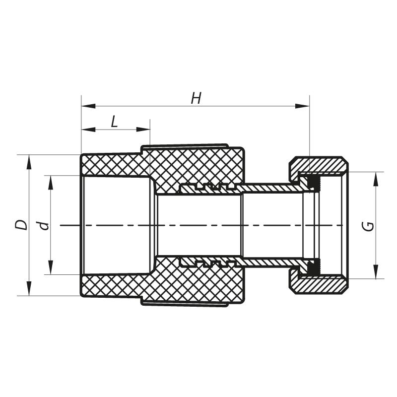 Муфта с накидной гайкой 20x1/2F PPR KOER K0141.PRO (KP0178)