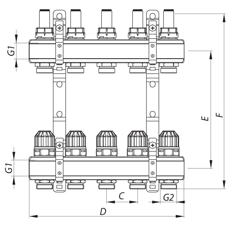 """Колекторний блок з витратомірами KOER KR.1110-06 1""""x6 WAYS (KR2643)"""