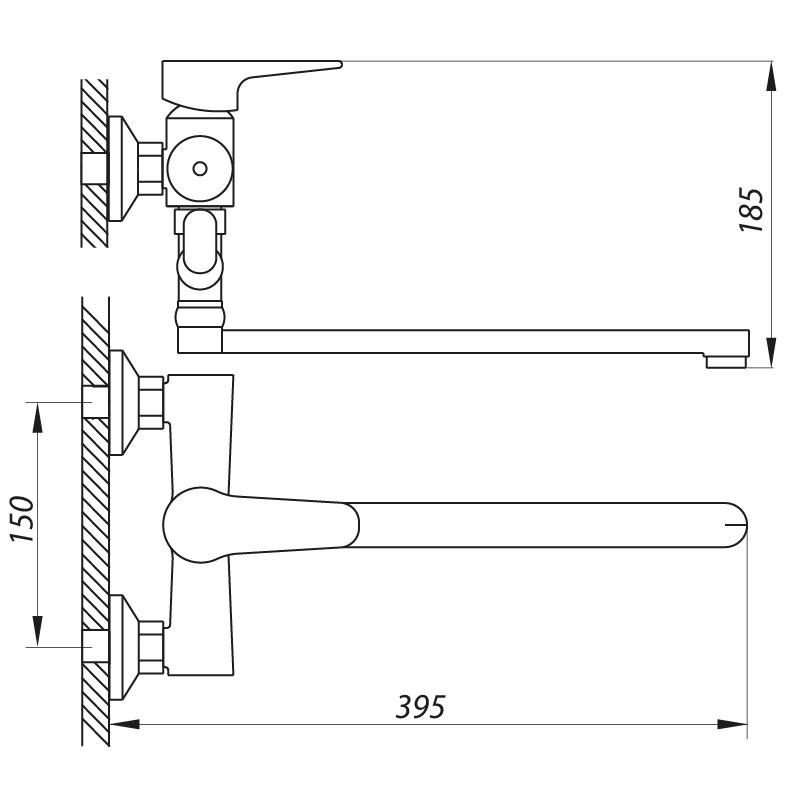 Змішувач для ванни ZERIX PUD7 146 (ZX2938)