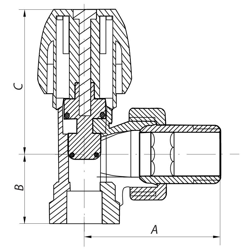 Вентиль радиаторный угловой 1/2x1/2 (KOER KR.905) (KR2846)