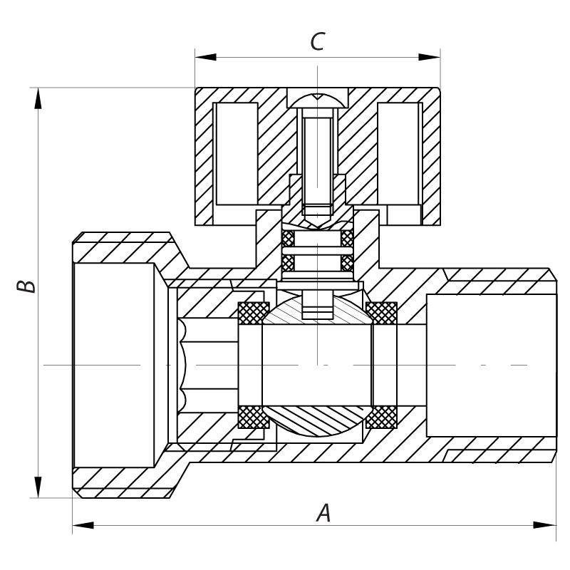 Кран трехходовой 1/2Mx3/4Mx1/2F KOER KR.515 (KR0103)