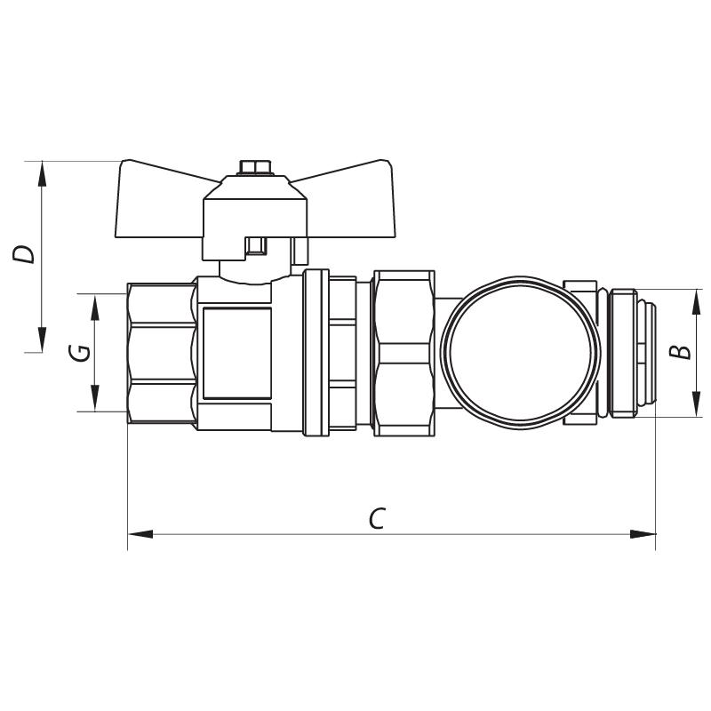 Кран с накидной гайкой 1'' с термометром прямой KOER KR.1030 (KR2669)